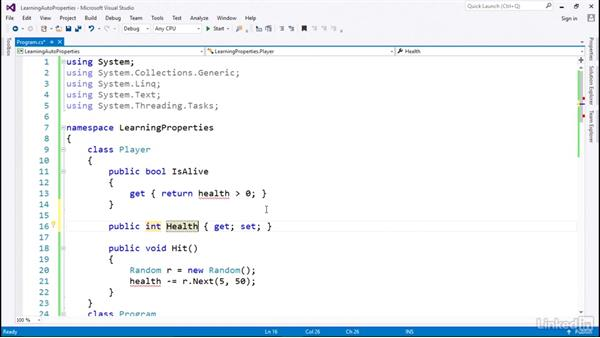 Auto-implemented properties for more compact code: C# with .NET Programming