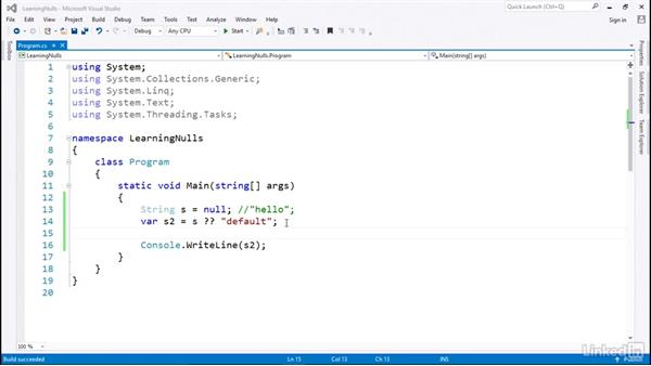Introduction to null coalescing: C# with .NET Programming