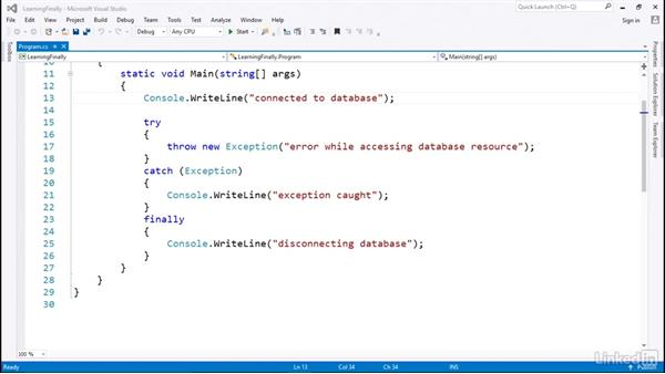 An example with finally: C# with .NET Programming