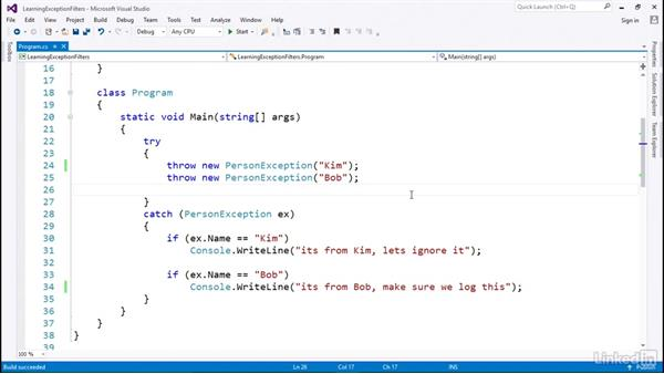 How to use exception filters: C# with .NET Programming