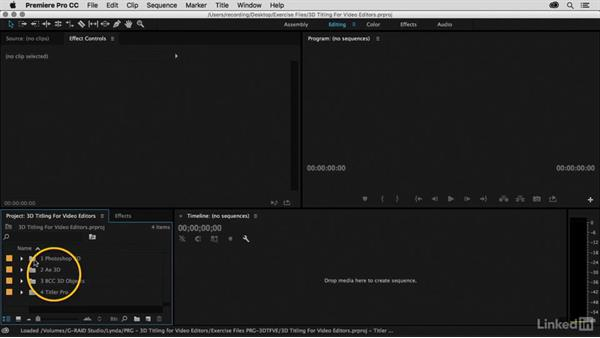 Using the exercise files: Premiere Pro Guru: 3D Titling for Video Editors