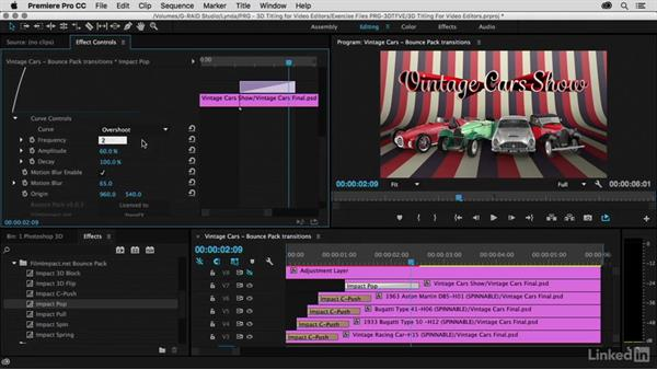 Animating using Bounce Pack transitions: Premiere Pro Guru: 3D Titling for Video Editors