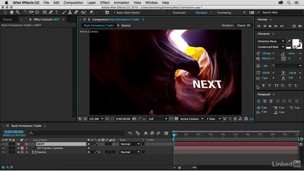 Solving camera motion and adding text: Premiere Pro Guru: 3D Titling for Video Editors