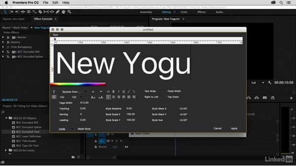 BCC 3D Objects introduction: Premiere Pro Guru: 3D Titling for Video Editors