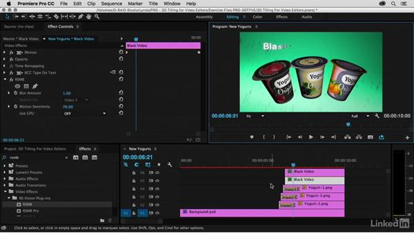 Final adjustments, sound effects, and motion blur: Premiere Pro Guru: 3D Titling for Video Editors