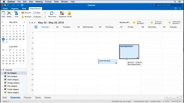 Create an appointment by selecting a time: Time Management with Outlook for Mac 2016 Calendar and Tasks