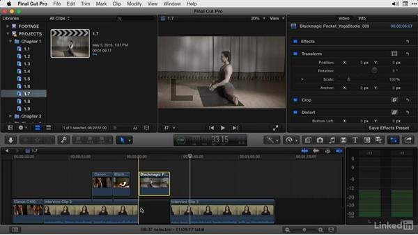 Lifting clips from the primary storyline to overlap footage: Final Cut Pro X Guru: Advanced Trimming