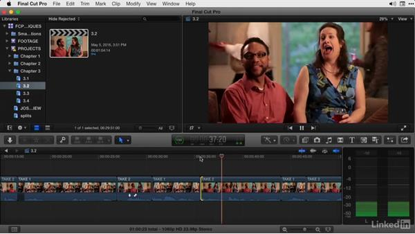 Cutting dialogue in the Precision Editor: Part 2: Final Cut Pro X Guru: Advanced Trimming