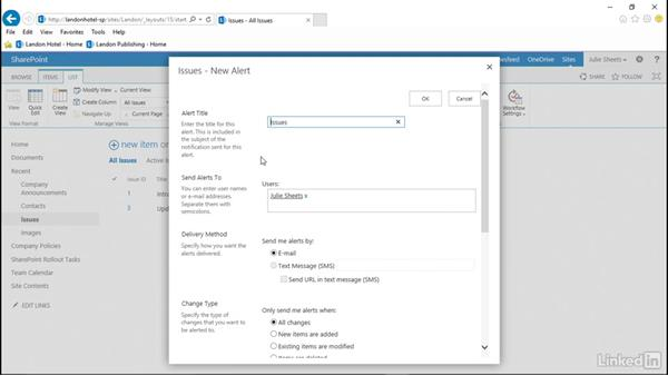 Add alerts: SharePoint 2013: Prepare for the Microsoft Office Specialist Certification Exam (77-419)
