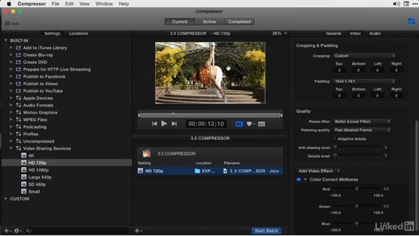 Adding color correction effects: Final Cut Pro X Guru: Compressor Exporting