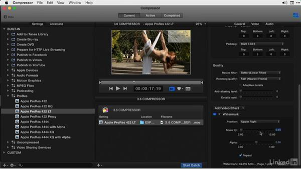 Adding timecodes and a watermarks: Final Cut Pro X Guru: Compressor Exporting