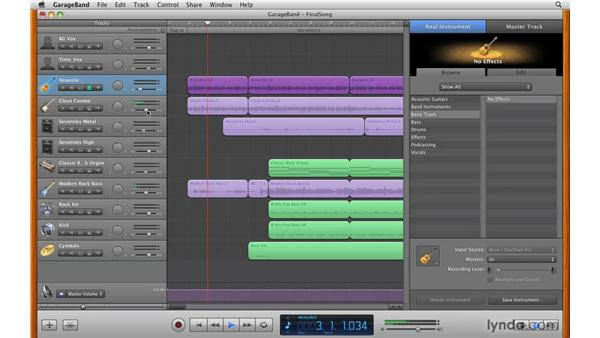 Using the track headers: GarageBand '09 Essential Training