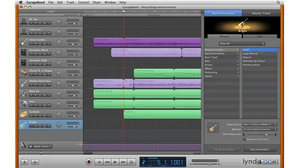 Recording a real instrument track: GarageBand '09 Essential Training