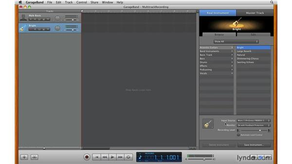 Recording multiple tracks simultaneously: GarageBand '09 Essential Training