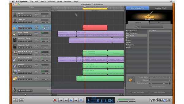Using the Cycle Region function: GarageBand '09 Essential Training
