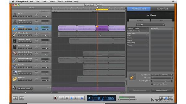 "Making a ""punch in"" recording: GarageBand '09 Essential Training"