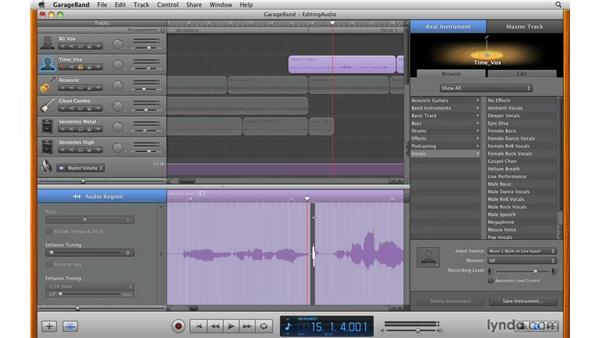Editing real instrument audio: GarageBand '09 Essential Training