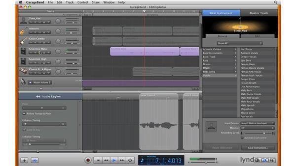 Using the audio region: GarageBand '09 Essential Training
