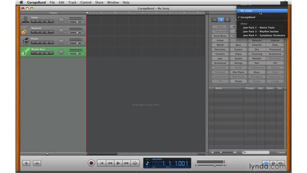 Using the loop browser: GarageBand '09 Essential Training