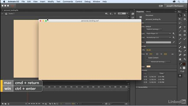 Testing your project: Learn Adobe Animate CC: The Basics