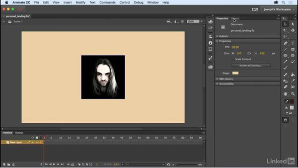 Importing bitmap files: Learn Adobe Animate CC: The Basics