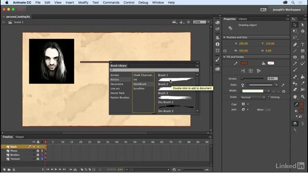 Stroke styles and Vector Art brushes: Learn Adobe Animate CC: The Basics
