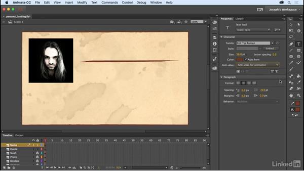Using static text: Learn Adobe Animate CC: The Basics