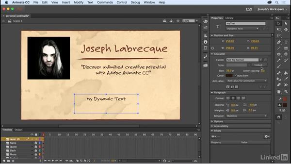 Dynamic text considerations: Learn Adobe Animate CC: The Basics
