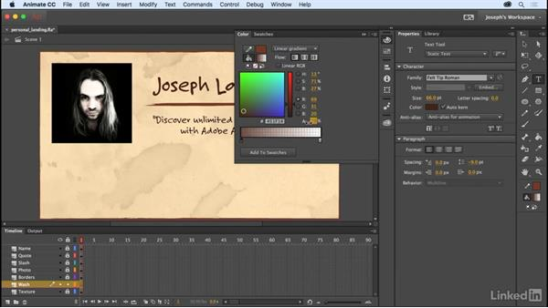Managing color: Learn Adobe Animate CC: The Basics