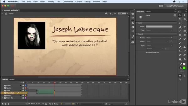 Masking content: Learn Adobe Animate CC: The Basics