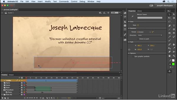 Using motion tweens: Learn Adobe Animate CC: The Basics