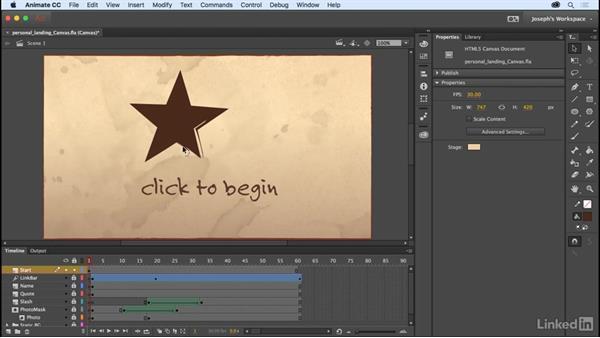 Build a welcome frame: Learn Adobe Animate CC: The Basics