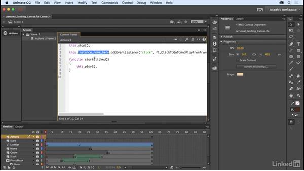 Adding interaction: Learn Adobe Animate CC: The Basics
