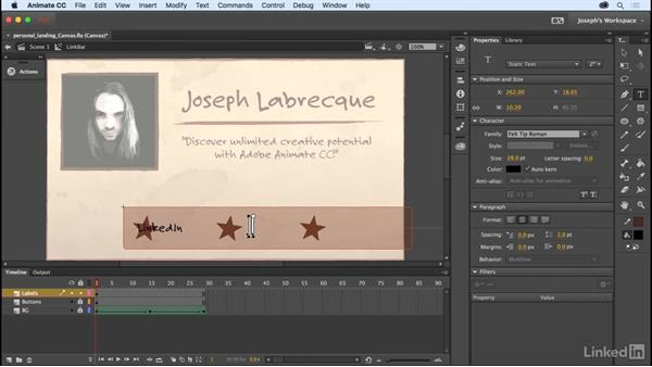 Interactive button layout: Learn Adobe Animate CC: The Basics