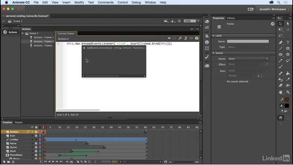 Coding the navigation: Learn Adobe Animate CC: The Basics