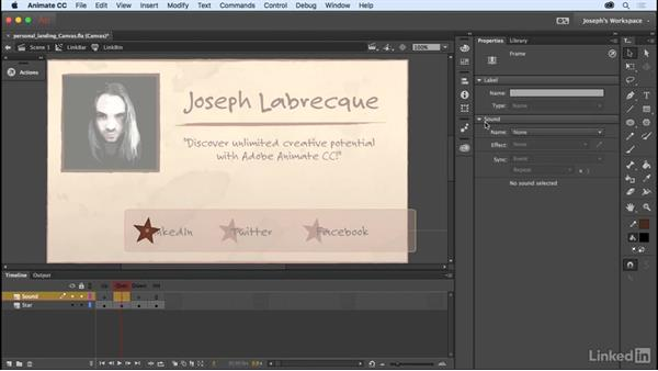 Integrating audio: Learn Adobe Animate CC: The Basics