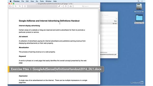 Using the exercise file: Learn Google AdSense: The Basics