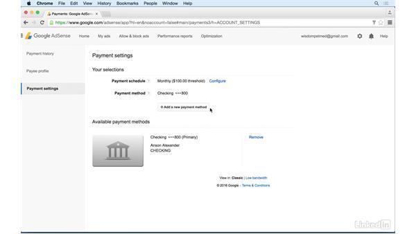 Providing payment information: Learn Google AdSense: The Basics