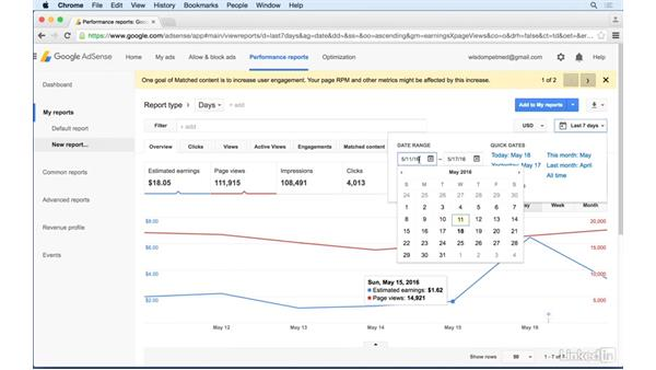 AdSense Performance reports tab: Learn Google AdSense: The Basics