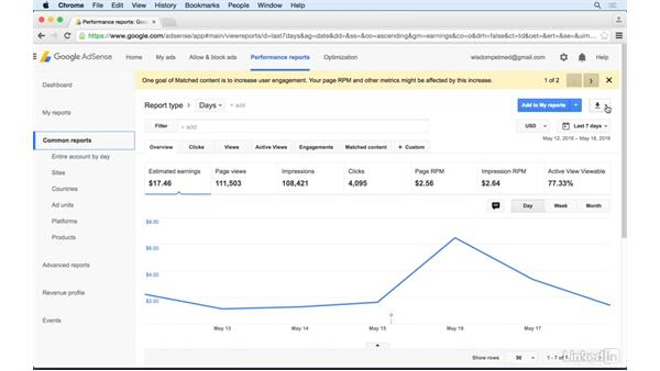 Exporting data: Learn Google AdSense: The Basics