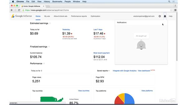 Accessing messages: Learn Google AdSense: The Basics