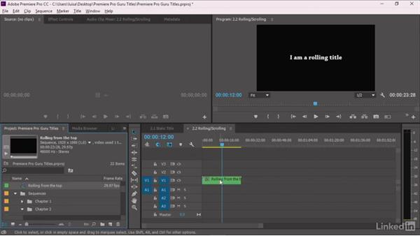 Creating a new rolling or scrolling title: Premiere Pro Guru: Optimizing Titles