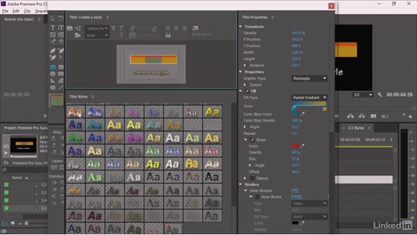 Creating a style: Premiere Pro Guru: Optimizing Titles