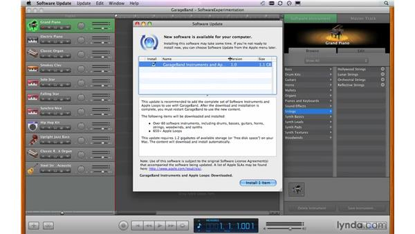 Checking that all instruments are installed: GarageBand '09 Essential Training