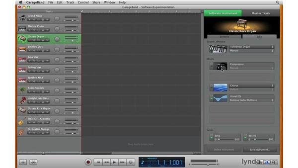 Choosing a software instrument: GarageBand '09 Essential Training