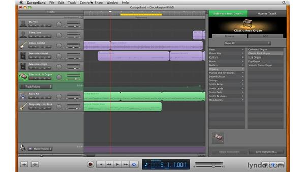 Using Cycle Region to record complex parts: GarageBand '09 Essential Training