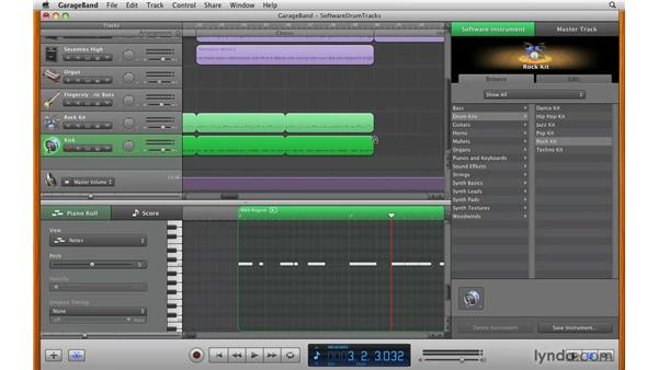 Working with drum tracks: GarageBand '09 Essential Training