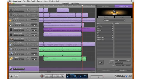 Setting levels and stereo panning: GarageBand '09 Essential Training