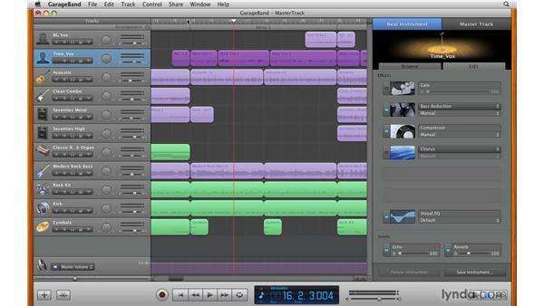 Working with master track effects: GarageBand '09 Essential Training
