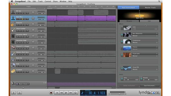 Working with standard track effects: GarageBand '09 Essential Training